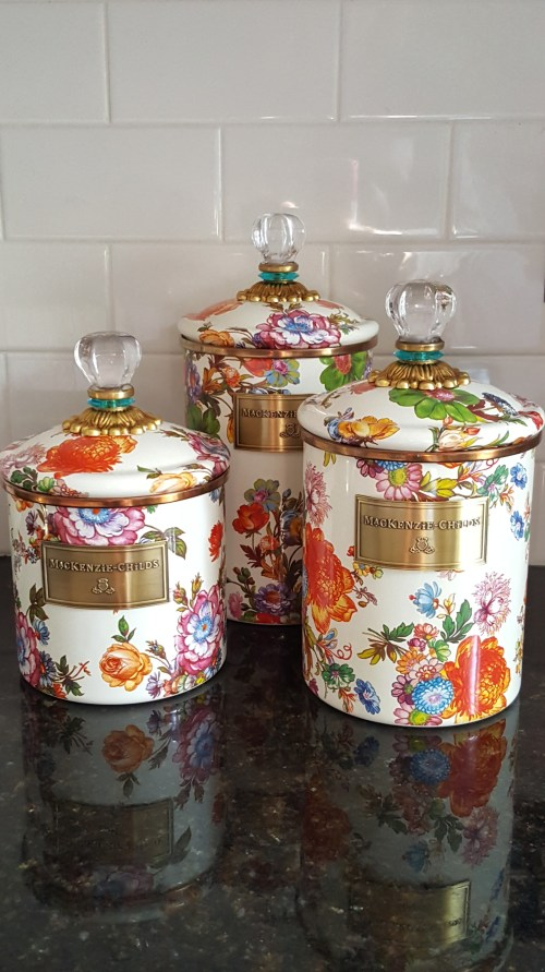 MacKenzie-Childs Spring Kitchen Decor White Farmhouse Cooking Canisters