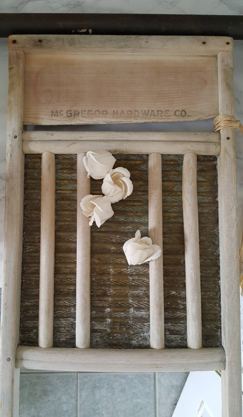 One Room Challenge Urban Industrial Vintage Laundry Room Open Shelving Gold Decor Antique wash board white roses