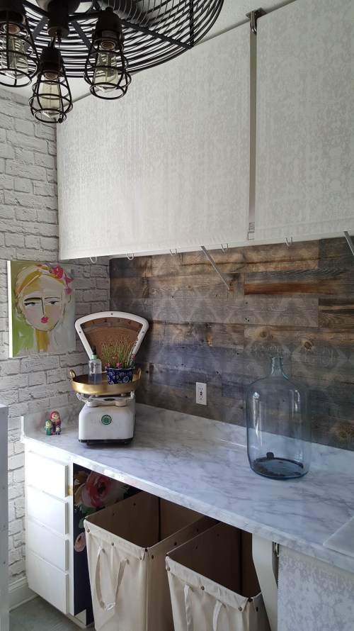 Beesnburlap One Room Challenge Urban Industrial Vintage Glam Laundry Room Reveal Makeover DIY Marble Counter Art Brick Wallpaper Wood Wall Decor Vintage Scale