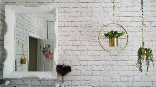 Beesnburlap One Room Challenge Urban Industrial Vintage Glam Laundry Room Reveal Makeover DIY Inspiration Brick Wallpaper Wood Wall Modern Farmhouse Decor Mirror Boho Plants