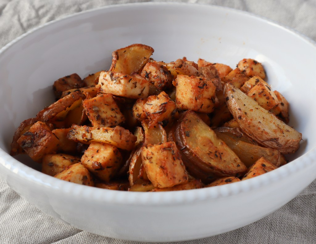 roasted tofu and potatoes