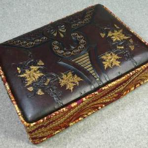 Leather Gold Leaf Tooled Memory Box with Flanged Lid