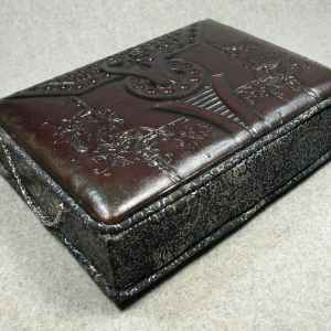 Leather Dark Brown Tooled Memory Box with Flanged Lid