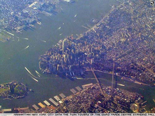 Looking down an New York City