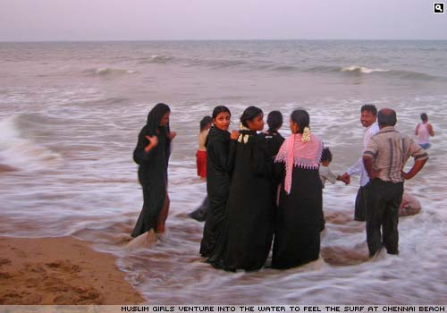 Muslim girls at Chennai beach