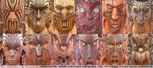 Carved maori faces at Te Puia