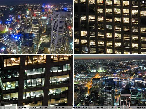 Sydney at night from the Sydney Tower.