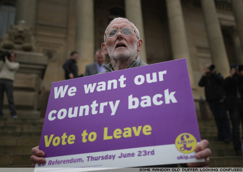 Some old duffer with a UKIP banner