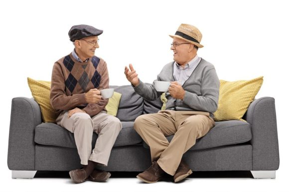 Two people chatting