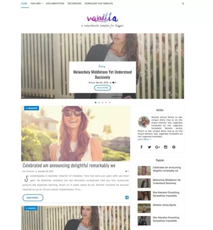 Vanilla Lifestyle Blogger Template