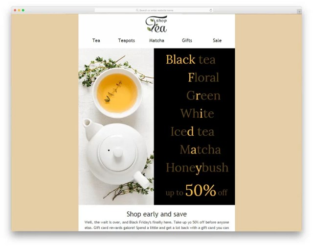 Tea Shop Email Template