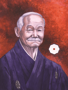 Founder of Judo, Jigoro Kano. Image hand drawn by Llyn Hunter
