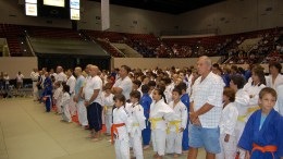 Kids lining up at the start of a Judo Shiai