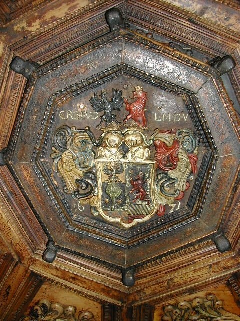 carved wooden Ceiling decoration of a pharmacy built in 1555
