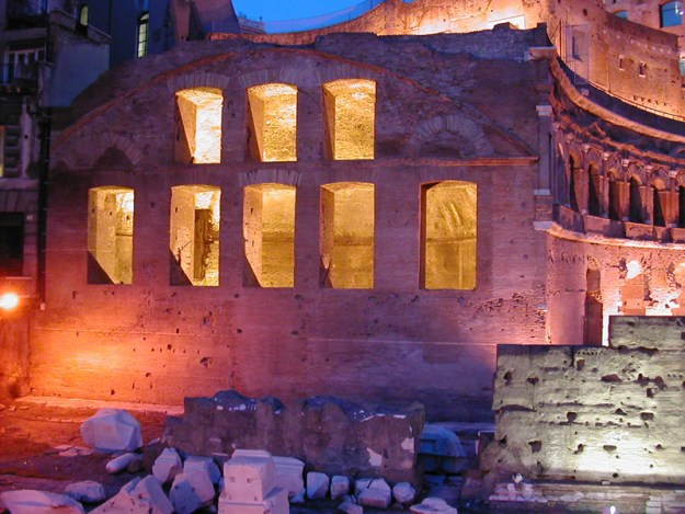 Trajan's Forum, Rome, by night