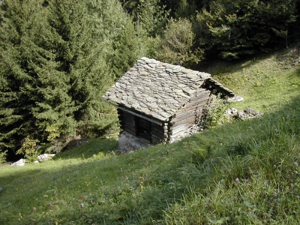 stone roof of an Alpine hut, Italy
