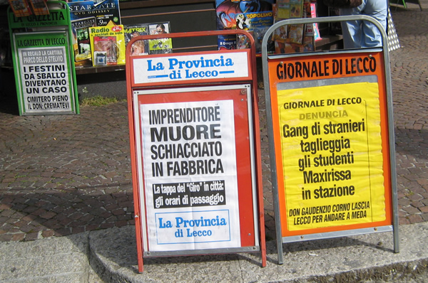Italian newspaper headlines