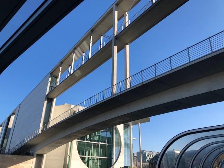 view of pedestrian bridges over the river in Berlin.
