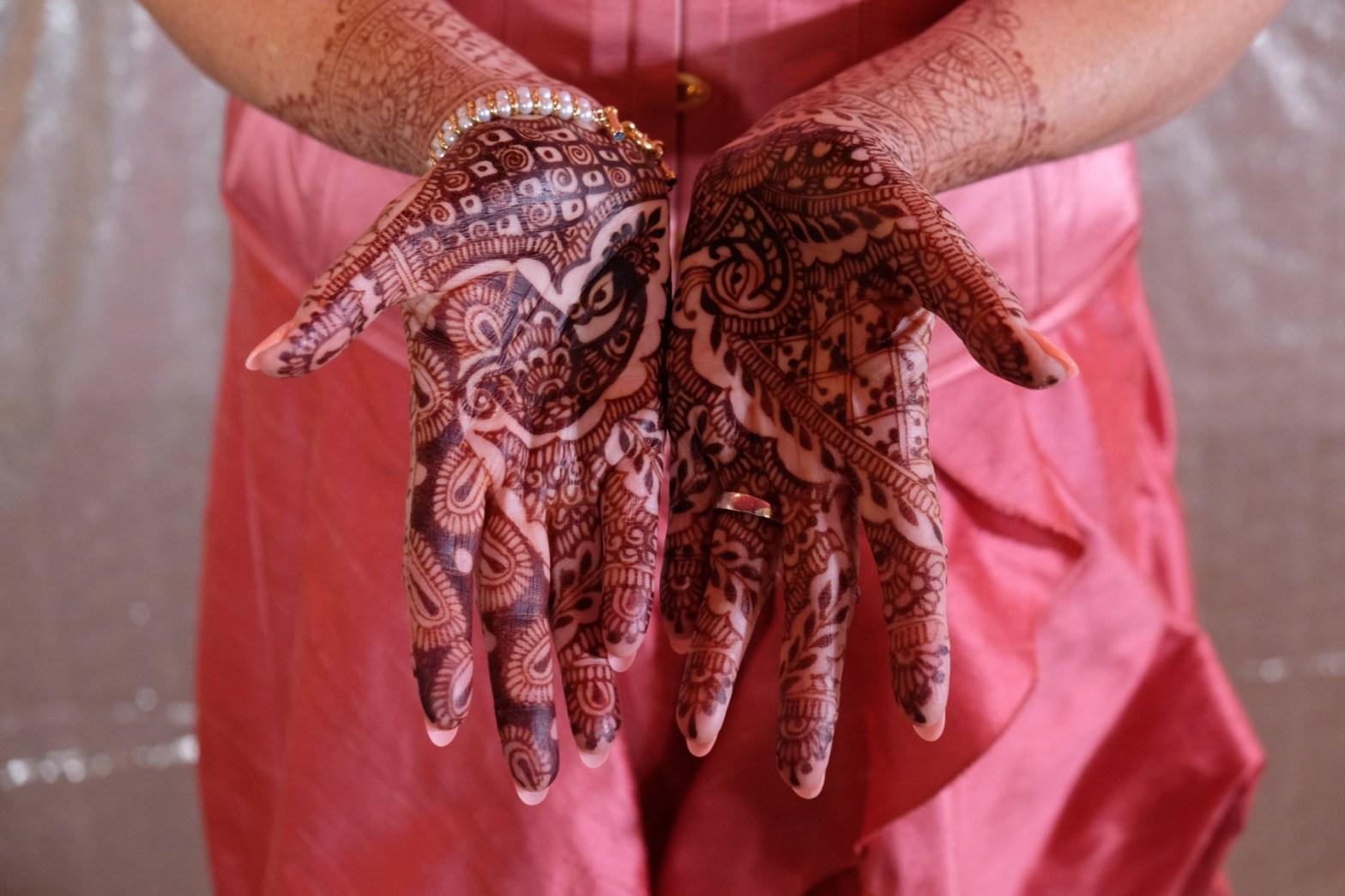 wedding day palms with mehndi,