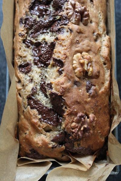 bananen brood met chocolade en walnoten