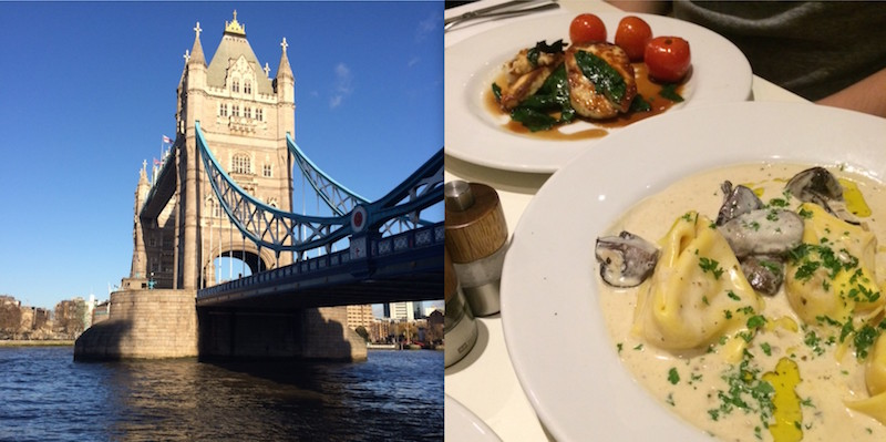 London tower bridge en Vegetarian restaurant molders