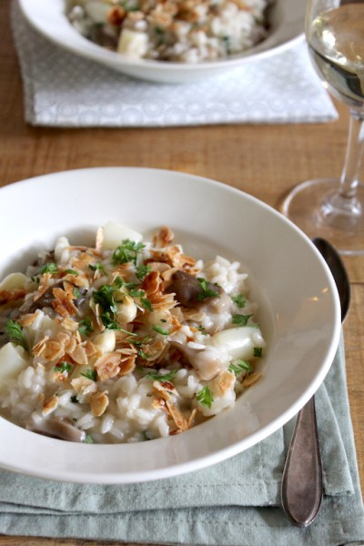 Witte asperge risotto