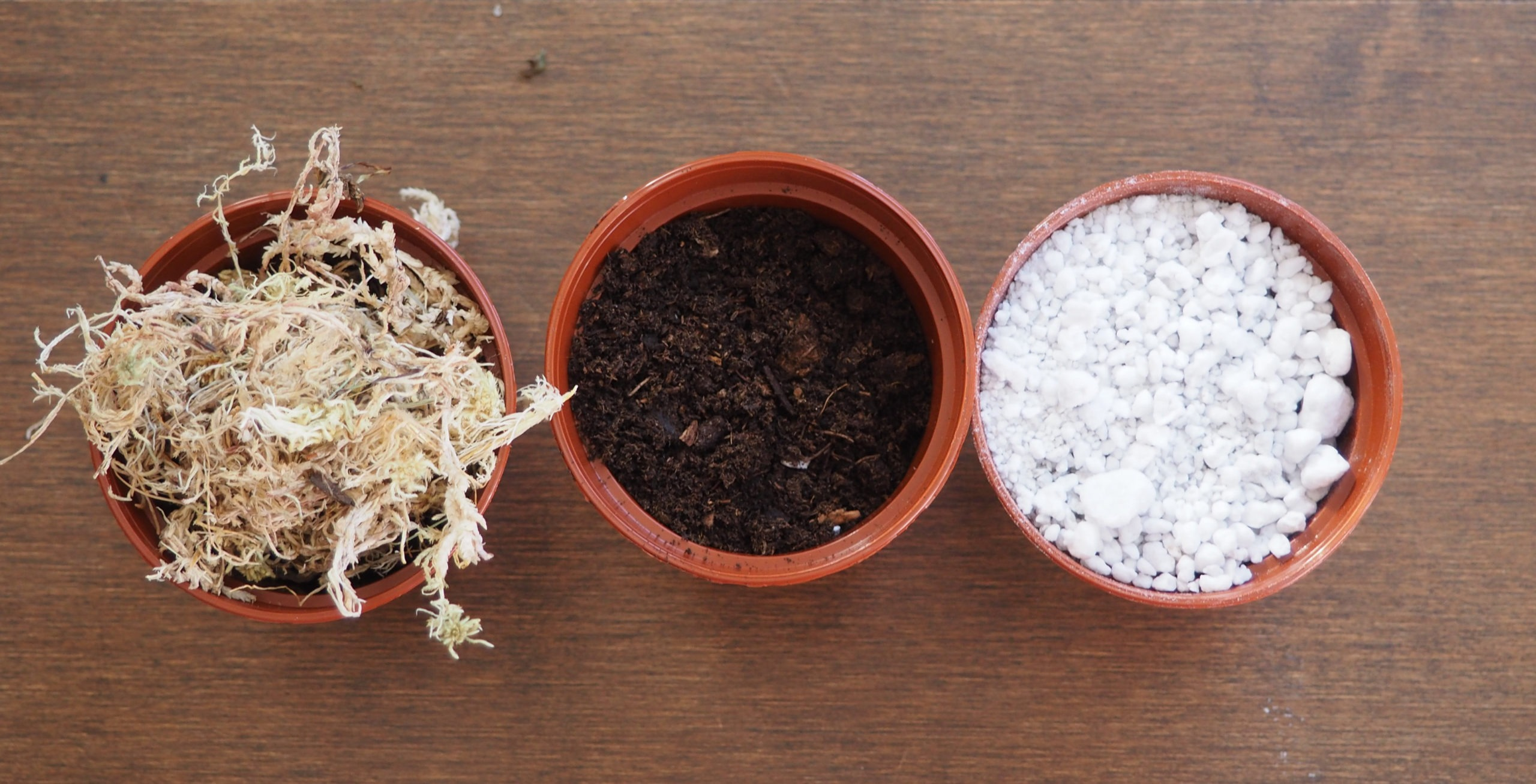 Soil mix in different pots