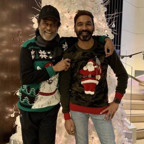 Dhanush posts a holiday picture with Superstar Rajinikanth
