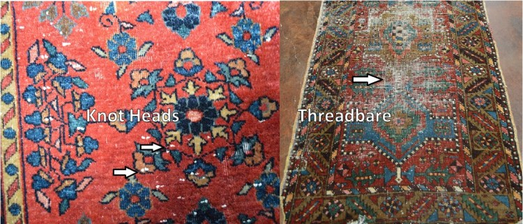 knot heads visible on threadbare rug