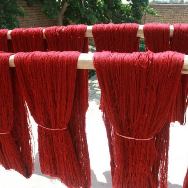 Wool Fibers Drying After Being Dyed