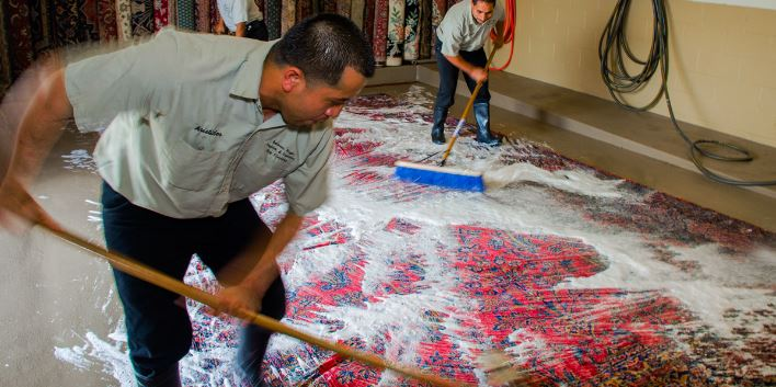 Professionals Hand Washing a Rug