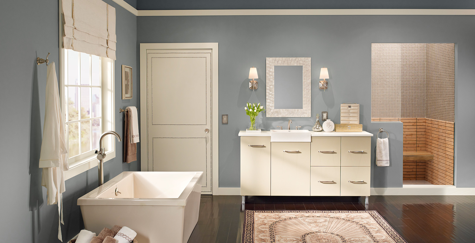 Calming Bathroom Ideas and Inspirational Paint Colors | Behr on Popular Bathroom Ideas  id=70320