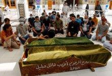 """صورة تشييع جثامين عدد من ضحايا """"فاجعة"""" مستشفى ابن الخطيب في بغداد."""