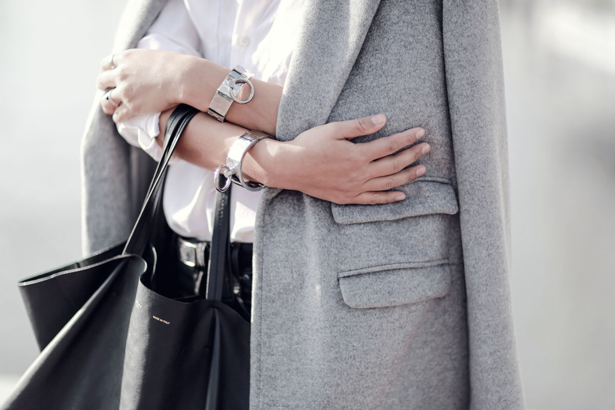 celine gray 1aqx  the haute pursuit cuffs thp shop oversized grey coat mules celine  trio-4 copy