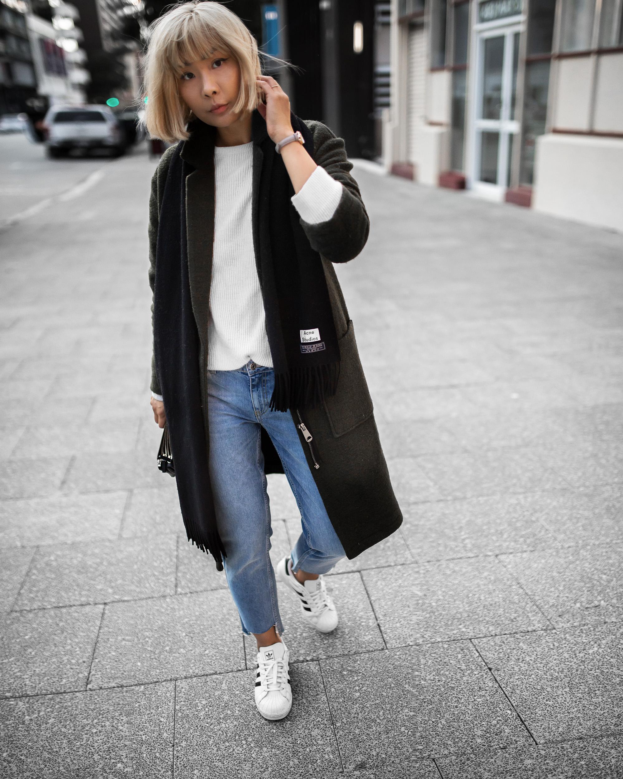 acne-scarf-khaki-coat-stepped-hem-jeans-outfit-inspiration-1-2-copy