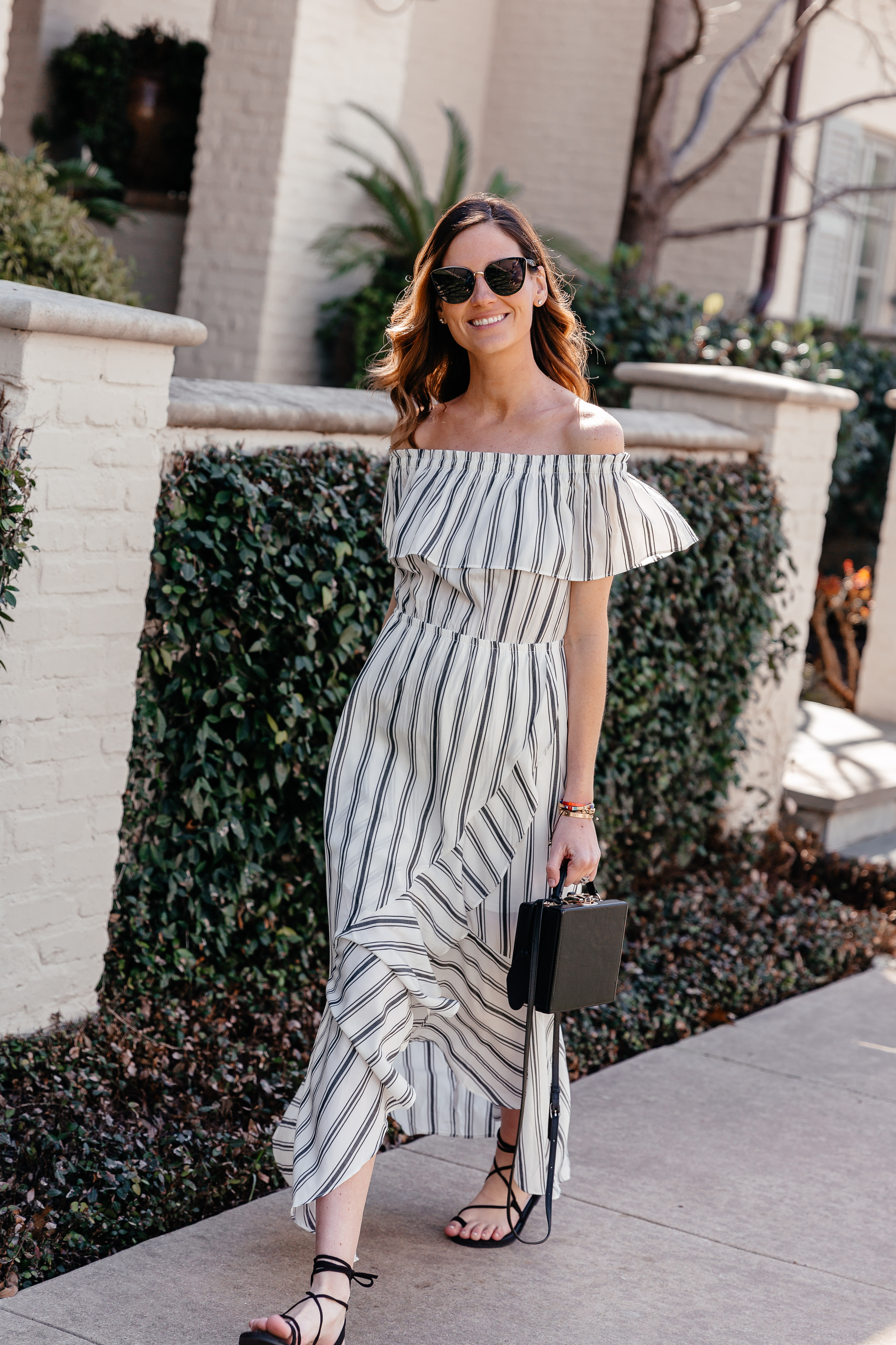 2e7939a7186c Dress  Striped Off The Shoulder Maxi Dress  also avail in black     Shoes   Lace Up Sandals  Under  40!     Sunglasses  Privé Revaux  similar here – I  bought ...