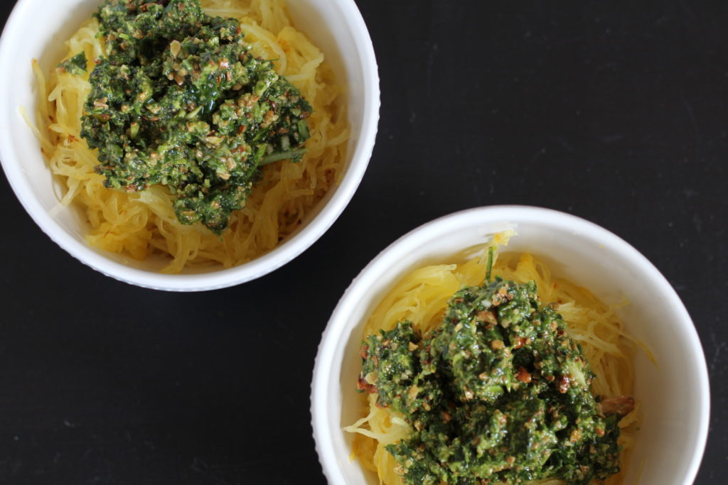 Paleo pasta with pesto and turkey meatballs