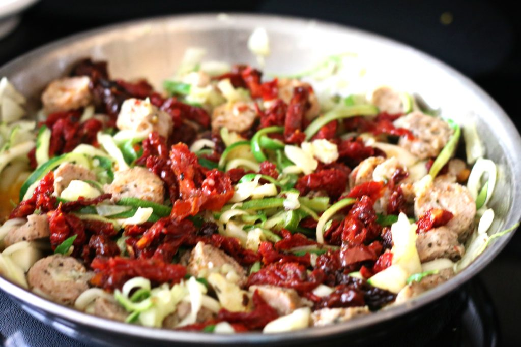 Zoodles with Turkey Sausage and Sun Dried Tomatoes