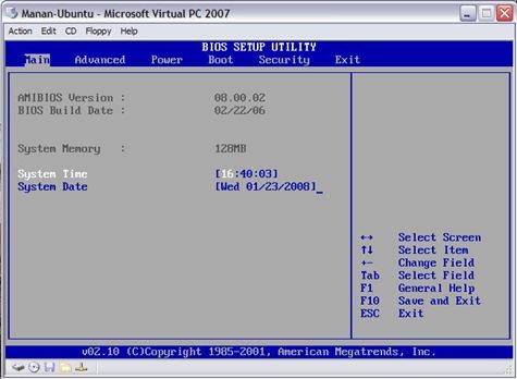 VPC Window 03 (Bios 01)
