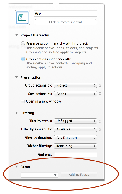 Add project directly into OmniFocus perspective