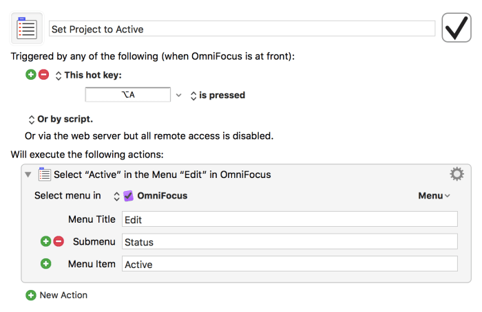 Set OmniFocus project to Active settings for Keyboard Maestro