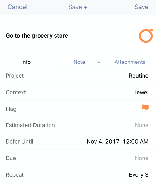 Grocery routine task settings