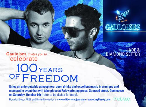 JADE & DIAMOND SETTER do GAULOISES 100 YEARS OF FREEDOM – Free Party