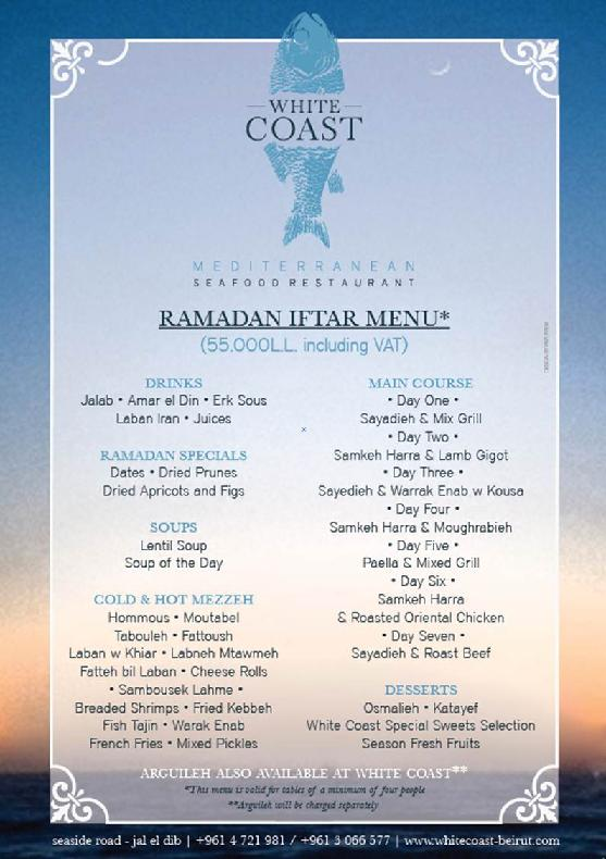 White Coast Restaurant Iftar Menu
