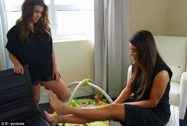 Kim Kardashian yelps as sister Kourtney squirts 'fresh off the boob' breast milk onto her leg