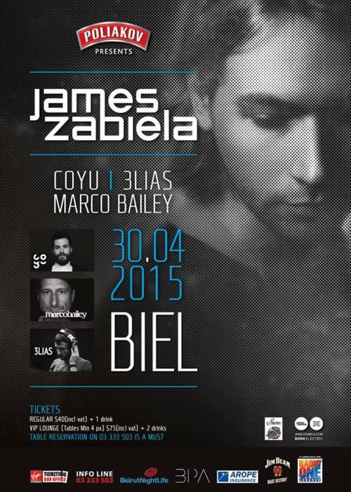 Get your FREE JAMES ZABIELA ticket with BeirutNightLife.com