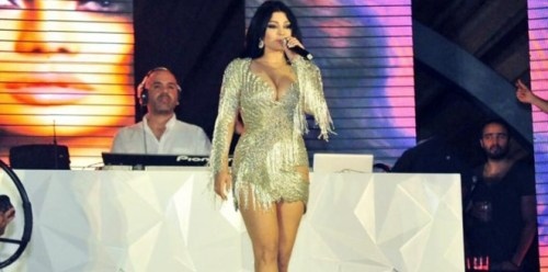 Haifa Wehbe wears her most daring dress yet at a concert in Egypt