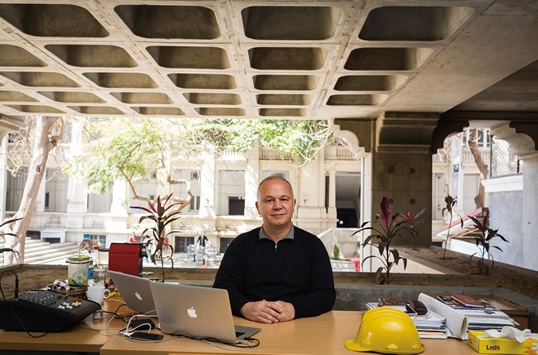 """Ahmed Alfi returned to Cairo in 2006 and in 2011 launched one of the region's best-known incubator spaces, Flat6Labs. He is now remodeling part of the former campus of the American University of Cairo to become Egypt's largest technology park. """"Everyone knows my main goal is collaboration,"""" he says."""