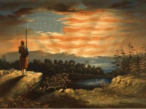 forefathers and flag in sky