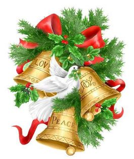 holly with bells and dove